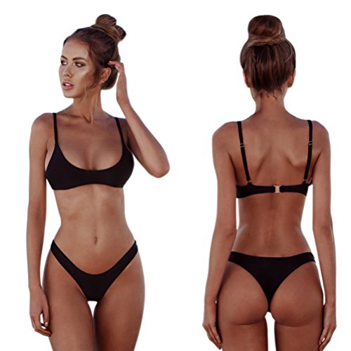 - 512IHCkZGwL - QDASZZ Womens Bikini Set Sexy Thong Triangle Top Set Swimsuit Beach Swimwear Solid Swimsuits for Women