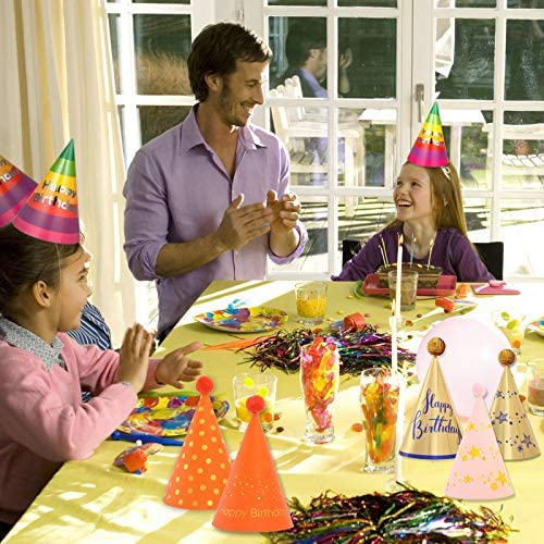 KEKU Birthday Party Rainbow Hats for Kids Adults Pets Paper Cone Hats with Pom Poms,18pcs