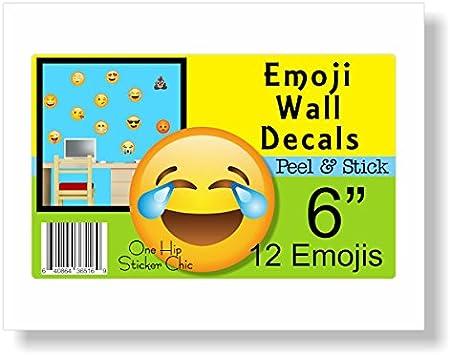 Emoji pared – extraíble adhesivos reutilizables Peel & stick – 12 Grandes Amarillo Emojis adhesivo – hecho de tela no – vinilo – 6
