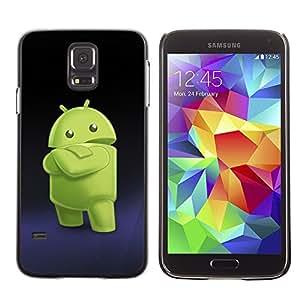 Caucho caso de Shell duro de la cubierta de accesorios de protección BY RAYDREAMMM - Samsung Galaxy S5 SM-G900 - Green Smartphone Alien