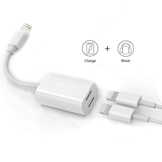 low priced 8a8d3 5f8c0 Dual Lightning Adapter & Splitter, White Headphone Audio & Charge Adapter  for iPhone 7/7 Plus