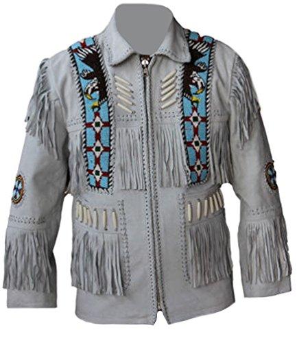 Coolhides Men's Cowboy White Leather Jacket Fringes And Bones Suede White 5X-Large