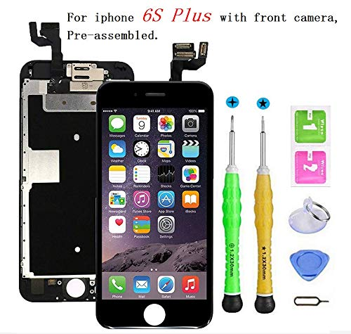 Screen Replacement Compatible with iPhone 6s Plus Full Assembly - LCD 3D Touch Display Digitizer with Sensors and Front Camera, Fit Compatible with iPhone 6s Plus (Black)