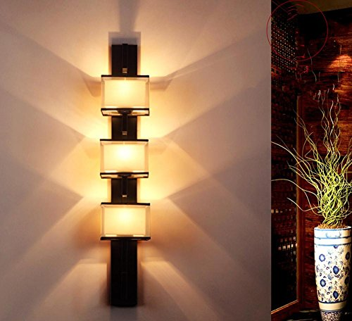 E27 Button-Style Cloth Wall Lamp Bedside Lamp Living Room Bedroom Corridor Aisle Stairs Simple Hotel Project Wall Lamp (180 1000 173Mm) by DMMSS