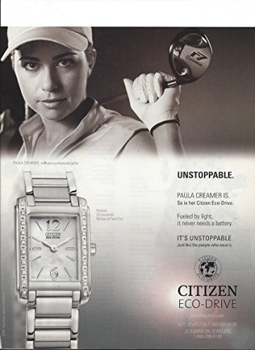 **PRINT AD** With Paula Creamer For 2007 Citizen Palidoro Stainless Watches **PRINT AD**