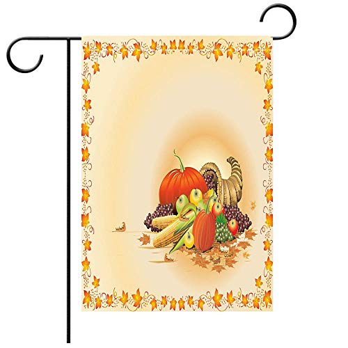 BEICICI Garden Flag Double Sided Decorative Flags Harvest Maple Tree Frame with Rustic Composition for Thanksgiving Halloween Dinner Food Multicolor Best for Party Yard and Home Outdoor Decor