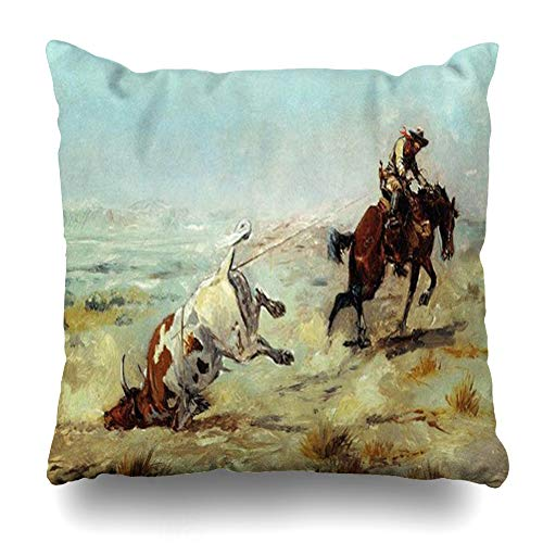 Ahawoso Throw Pillow Cover Pillowcase Cowgirl Vintage Western Cowboy Roping Steer Rodeo Decorative Pillow Case Home Decor 16x16 Square Size Cushion Case