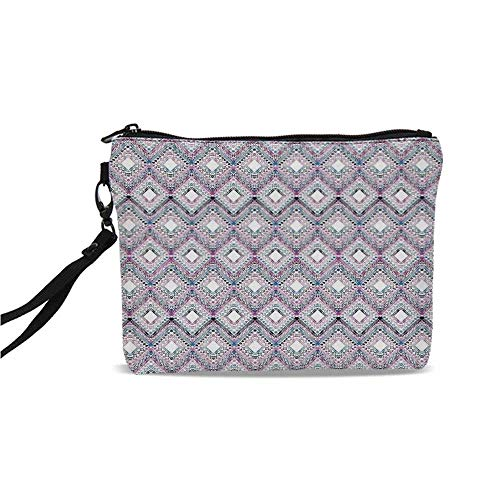 Paisley Decor Simple Cosmetic Bag,Abstract Tribal Seamless Design with Ornamental Elements with Geometric Details for Women,9