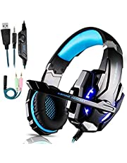 Gaming Headset Xbox One Headset with Stereo Surround Sound,PS4 Gaming Headset with Mic & LED Light Noise Cancelling Over Ear Headphones Compatible with PC, PS4, PS5,Xbox One Controller