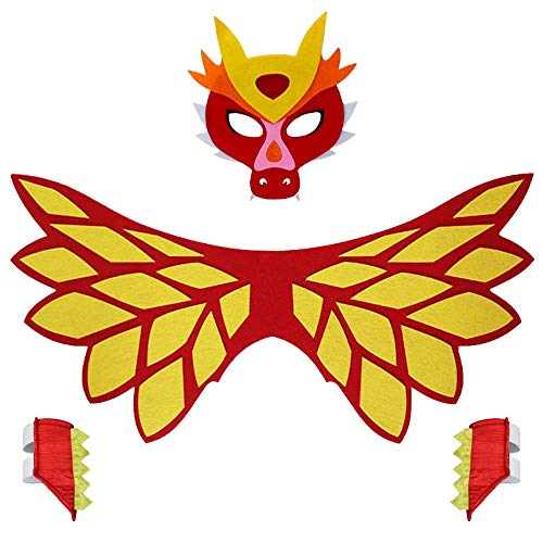 Kids Dragon Wings Costume with Red Dinosaur Mask and Bracelets Boys Girls Animal Dress Up Party Supplies]()