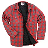 Urban Boundaries Men's Insulated Quilted Lined Flannel Shirt Jacket (Red/Grey, XX-Large)