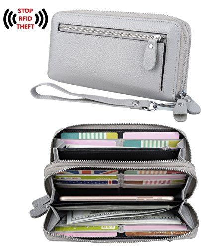 Blocking Security Double Zipper Large Smartphone Wristlet Leather Wallet Grey ()