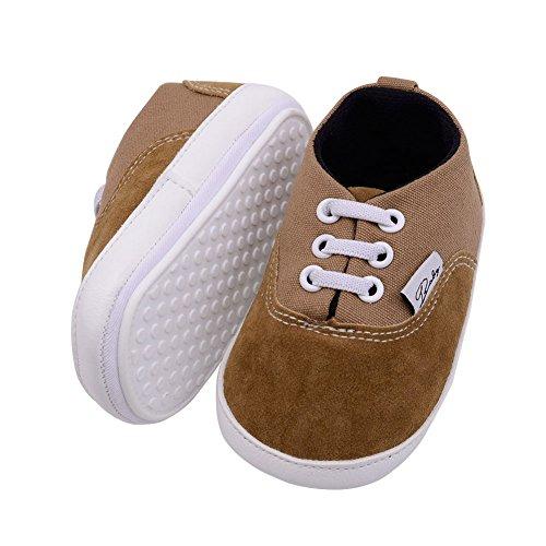 Zhuhaixmy Baby Schuhe Junge Mädchen Segeltuch Kleinkind Anti-Rutsch Erstes Gehen Krippe Schuh 0-24 Monate 12 Farbe Braun