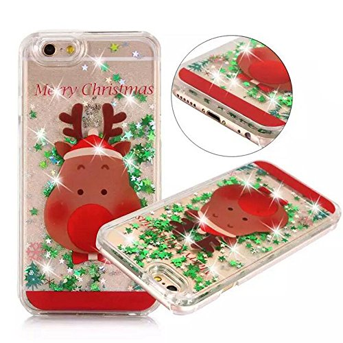 iPhone 6 plus/6s Plus Christmas Case,Fusicase New Arrivel Merry Christmas Tree Rudolph Giraffe Pattern Flowing Liquid Floating Luxury Bling Glitter Sparkle Case for iPhone 6 plus/6s Plus 5.5