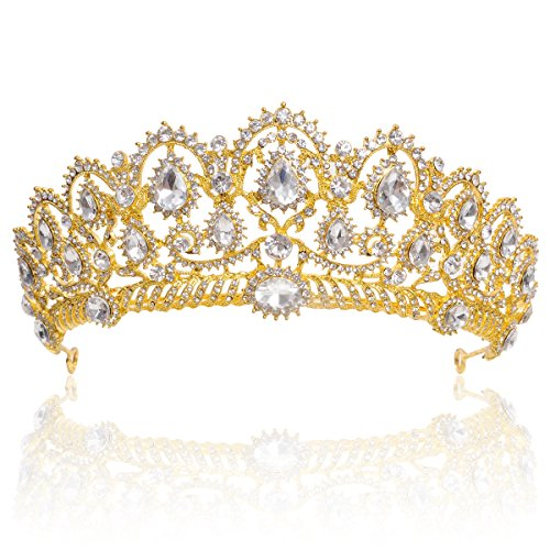 Crown Queen's - Crown, Tiara, YallFF Prom Queen Crown Quinceanera Pageant Crowns Princess Crown Rhinestone Crystal Bridal Crowns Tiaras for Women (Golden)