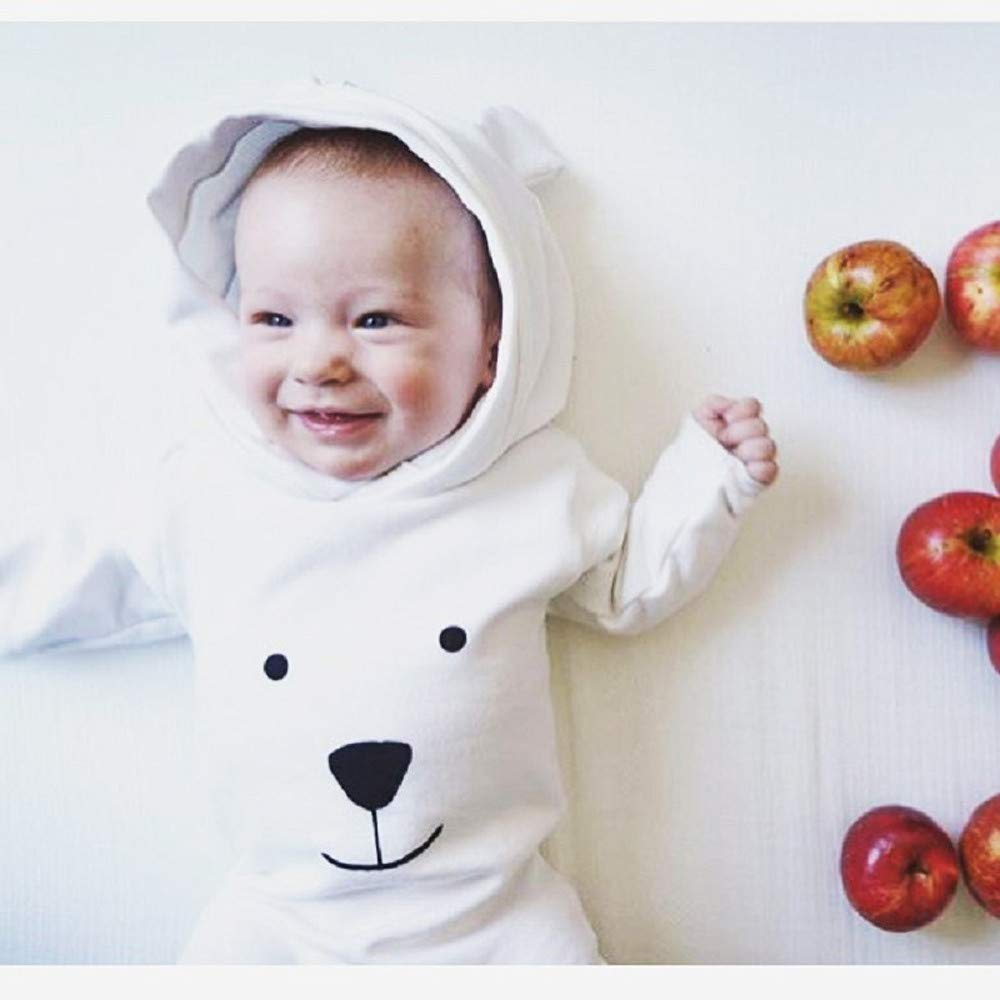 FORESTIME Cute Fashion Baby Girls Boys White Bear Adorable Romper Cartoon Flannel Jumpsuit Warm Clothes