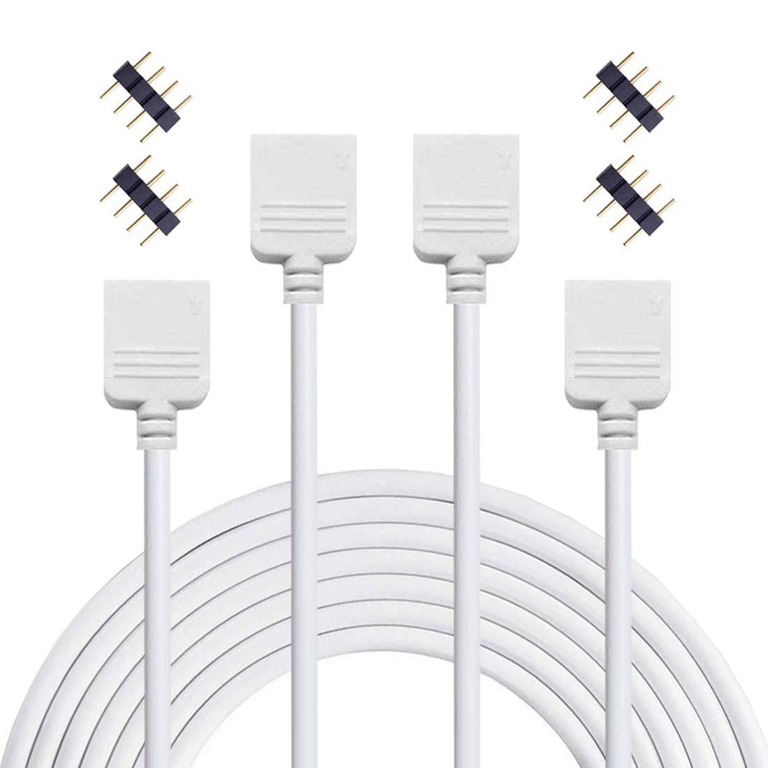 Blanco Liwinting 2 Piezas 4 Pin 5 Metros el Cable de Extensi/ón del RGB del Conecta el Enchufe Femenino a la Luz de Tira de SMD 5050 3528 2835 RGB LED con el Conectador Libre de 4 Piezas 4 Pin