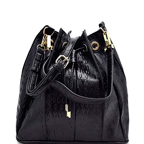 Handbag Crossbody Inner Hobo Embossed Bag Black Republic Ostrich w Pleated Hwr8vqH