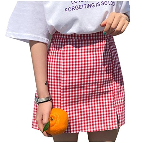 Panelled Pencil Skirt - ANDYOU-Women Regular Fit Panelled Empire Waist A-line Pencil Skirt Red XS
