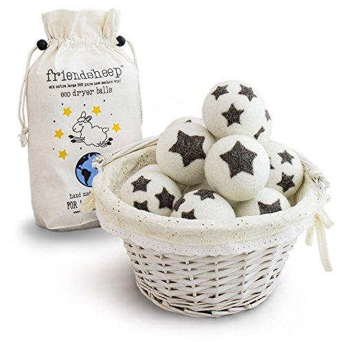 Friendsheep Organic Eco Wool Dryer Balls - 6 Pack - 100% Handmade, Fair Trade, Organic, No Lint - Premium Quality]()