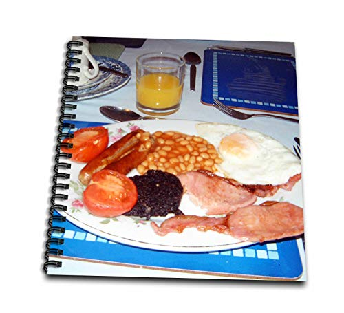 3dRose Jos Fauxtographee- Original English Breakfast - Tomatoes and Bangers with Beans and Blood Pudding on an Egg - Drawing Book 8 x 8 inch (db_292591_1)