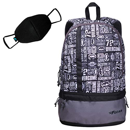 F Gear Burner P8 White 19 Liters Casual Backpack + F Gear F95 Reusable Black Mask