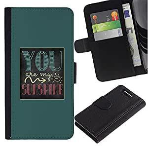 KingStore / Leather Etui en cuir / Sony Xperia Z1 Compact D5503 / Usted es mi sol texto verde impresiones