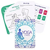 63 Card Yoga Exercise Deck - 45 Poses, Customizable Workouts, Meditation and Breathing Cards by Crown Sporting Goods