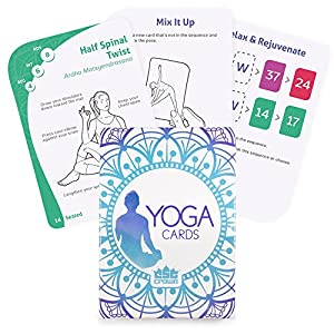 63 Card Yoga Exercise Deck 45 Poses, Customizable Workouts, Meditation and Breathing Cards by Crown Sporting Goods