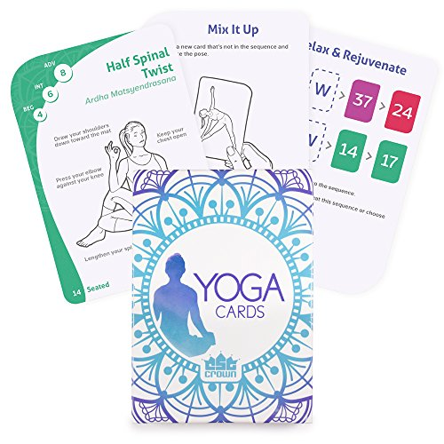 Yoga Cards | 63 Card Deck With Tips & Tricks as Well as Instructions | More Than 45 Essential Poses For Teaching Flexibility | Train, Meditate, and Relieve Stress with Easy To Follow Guides ()