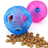 Chige Dog IQ Treat Ball Interactive Food Nontoxic Themoplastic Rubber Dog Chew Toys Activity Treat Ball For Teeth Health And Fun (Blue 1+Rose 1)