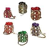 Indian Women Designer Clutch Potli Bag, Make Up Bag, Hand Bag MultiColor Potli Set of 6 Pcs