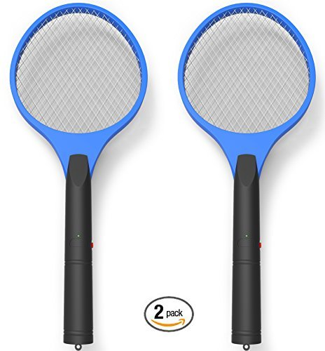 Electric Bug Zapper, Miatec Fly Swatter Racket Mosquito Zapper Best for Indoor and Outdoor Trap and Zap Pest Control Killer, 2 Pack Blue