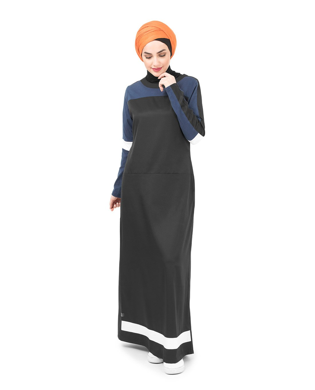 Silk Route Black Navy And White Subtle Curve Polyester Sporty Maxi Dress Jilbab Large 54