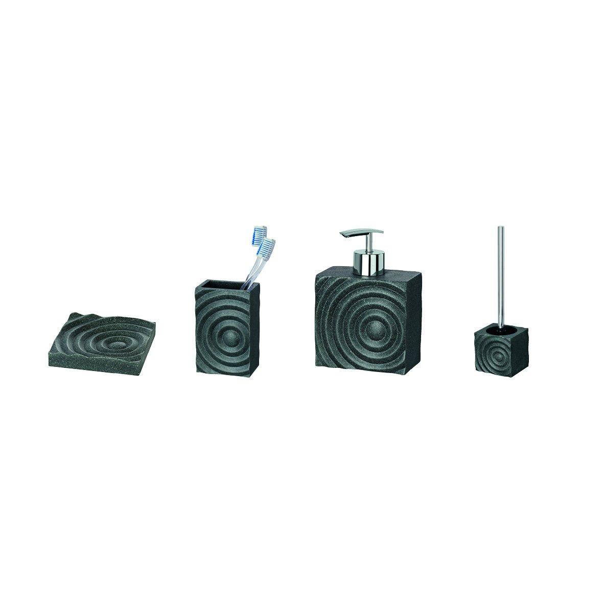 Wenko 21287100 Signs Brosse WC Noir Dimensions 10,5 x 9,5 x 37 cm