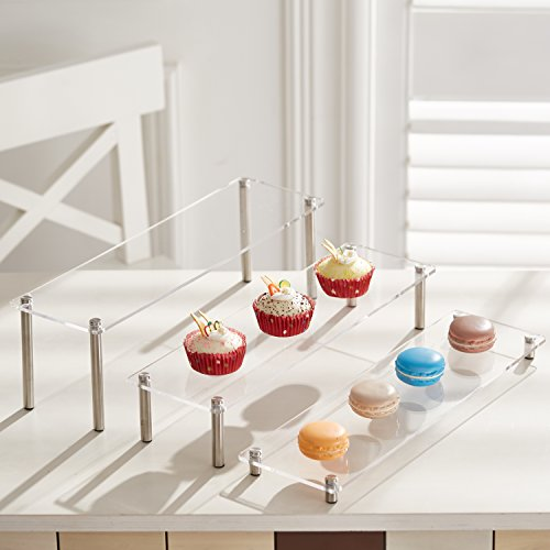 MyGift 3-Tier Rectangular Clear Acrylic Cupcake Dessert Display Stand Riser, Set of ()