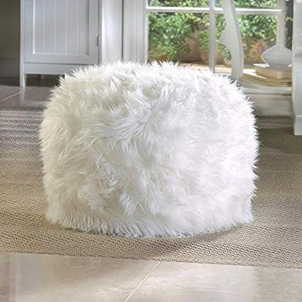 Marvelous Amazon Com White Faux Fur Ottoman Fake Furry Pouf Ottoman Andrewgaddart Wooden Chair Designs For Living Room Andrewgaddartcom