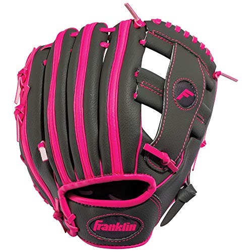 "Franklin Sports RTP Teeball Performance Gloves, 9.5"", Right Hand Throw, Graphite/Pink"