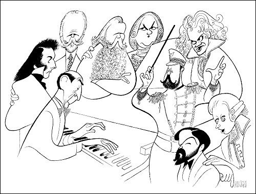 AL HIRSCHFELD'S: HOROWITZ & FRIENDS, Hand Signed by Al HIrschfeld, C of A, Ltd Ed, VLADIMIR HOROWITZ, CHOPIN, TCHAIKOVSKY, BRAHMS, BACH, BEETHOVEN, MOZART, DEBUSSY, and JOHN PHILIP SOUSA