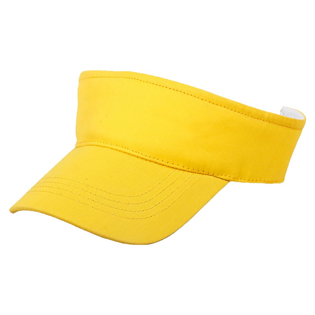 Opromo 100% Cotton Kids Visors Children Adjustable Plain Sports Visor Sun Cap-Yellow-48 Pcs