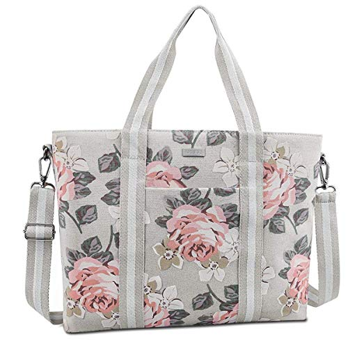 MOSISO Laptop Tote Bag (Up to 17.3 Inch), Canvas Classic Rose Multifunctional Work Travel Shopping Duffel Carrying Shoulder Handbag Compatible Notebook, MacBook, Ultrabook and Chromebook, Gray by MOSISO