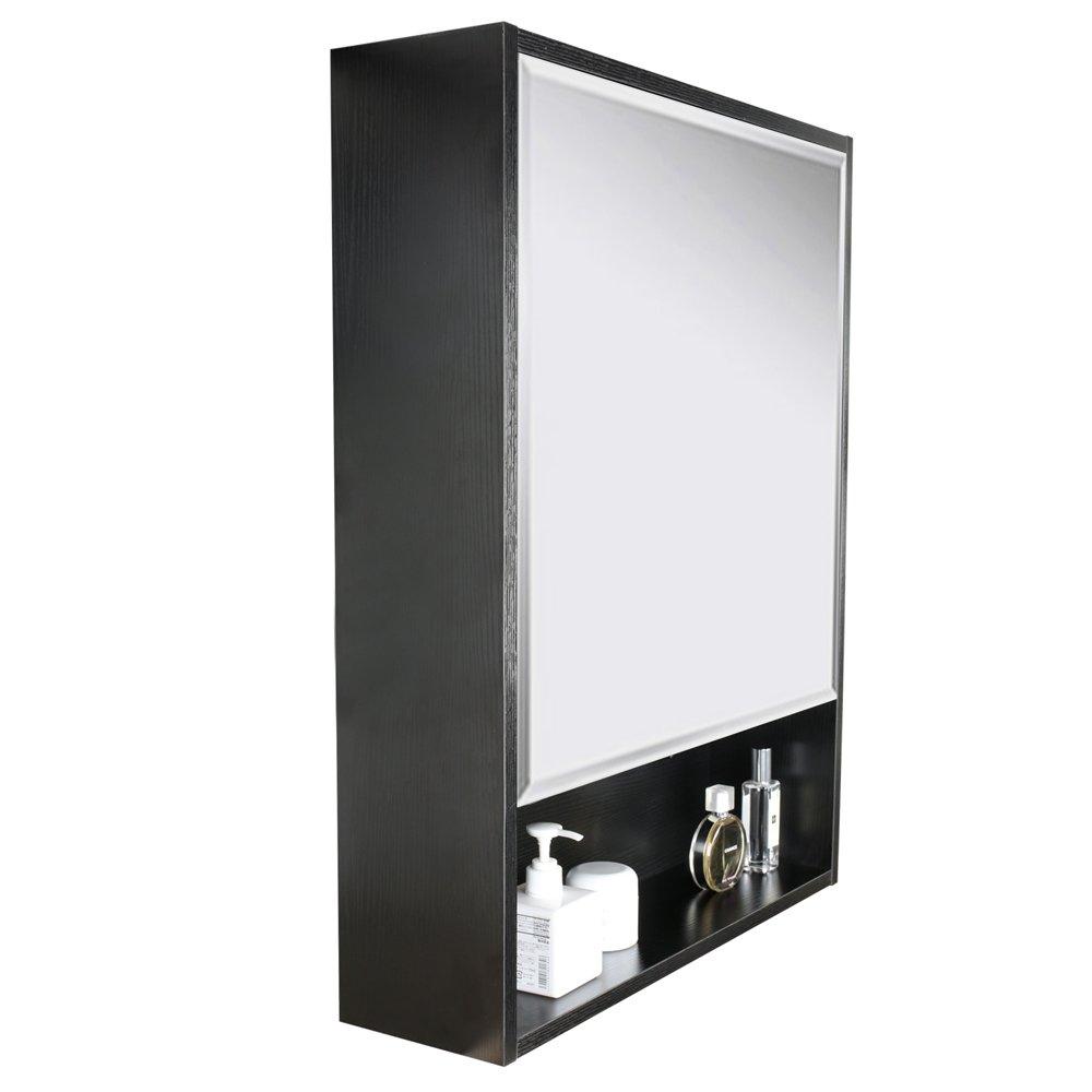 U-Eway 22''x28'' Bathroom Medicine Cabinet Organizer With Mirror 3-Height Adjustable Shelf Wall Mounted Surface Black Bathroom Storage by U-Eway (Image #2)