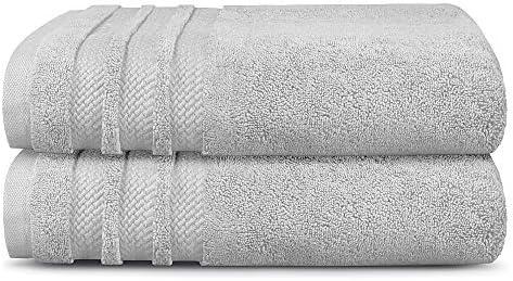 TRIDENT luxe hotelcollectie extra groot 100 katoen Zero Twist 2delige badhanddoeken superzacht extra absorberend grijs