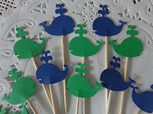 Whale Cupcake Toppers - Food Picks - Navy Blue and Classic Green Whales - Party Picks - Baby Shower Appetizer Picks (Set of 24)