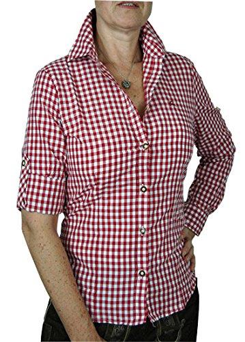 OS Trachtenbluse MARIE kariert tailliert mit Krempelärmel, Größen:40;Farben:rot