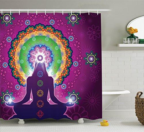 Ambesonne Mandala Decor Collection, Meditating Woman with a Macro Mandala Lotus on Her Head Yoga Theme Chakra Image, Polyester Fabric Bathroom Shower Curtain Set with Hooks, Purple Green