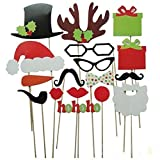 Soledi (Pack of 17) Funny DIY Photo Booth Props Mustache Glasses Snowflake Gift On A Stick Wedding Birthday Christmas Xmas Party Family