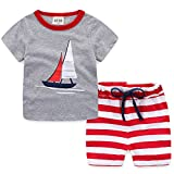 Ubeiyi Little Boys' Summer Cotton Short Sleeve Clothing Sets (3T, Grey)