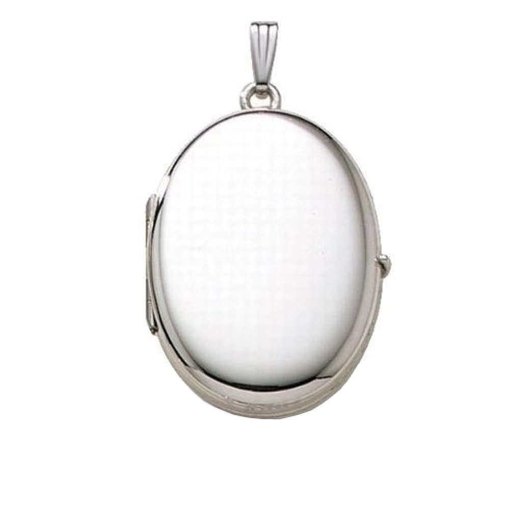 Sterling Silver Oval Four Photo Locket 3/4 Inch X 1 1/4 Inch Sterling Silver