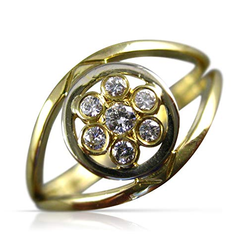 Milano Jewelers .15CT Diamond 18KT Yellow Gold 3D Flower Bezel Classic Love Ring ()